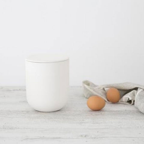 Ivory House | Large Matte Flax Jar with Lid in Snow White