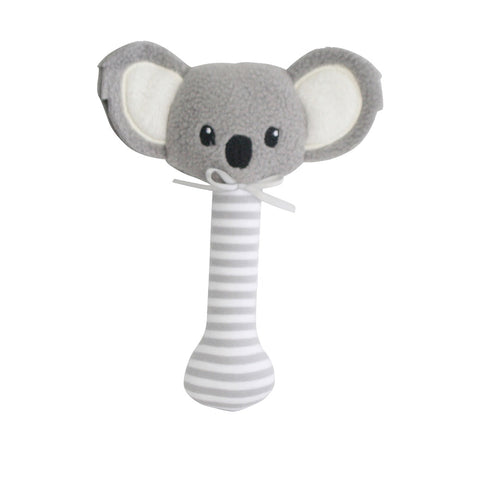 Alimrose Designs | Baby Koala Stick Rattle in Grey Stripe