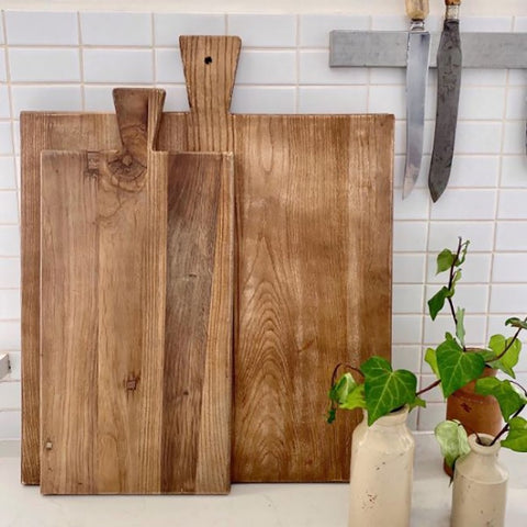 Ivory House | Large Solid Square Elm Serving Chopping Board with Handle