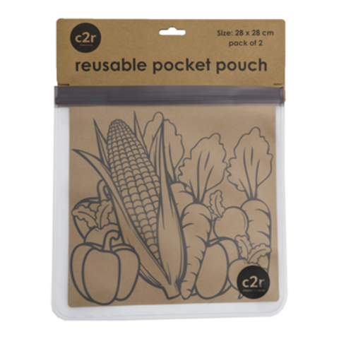 choose2reuse | Large Flat Food Ziplock Pocket Pouch Set/2 in Charcoal Grey