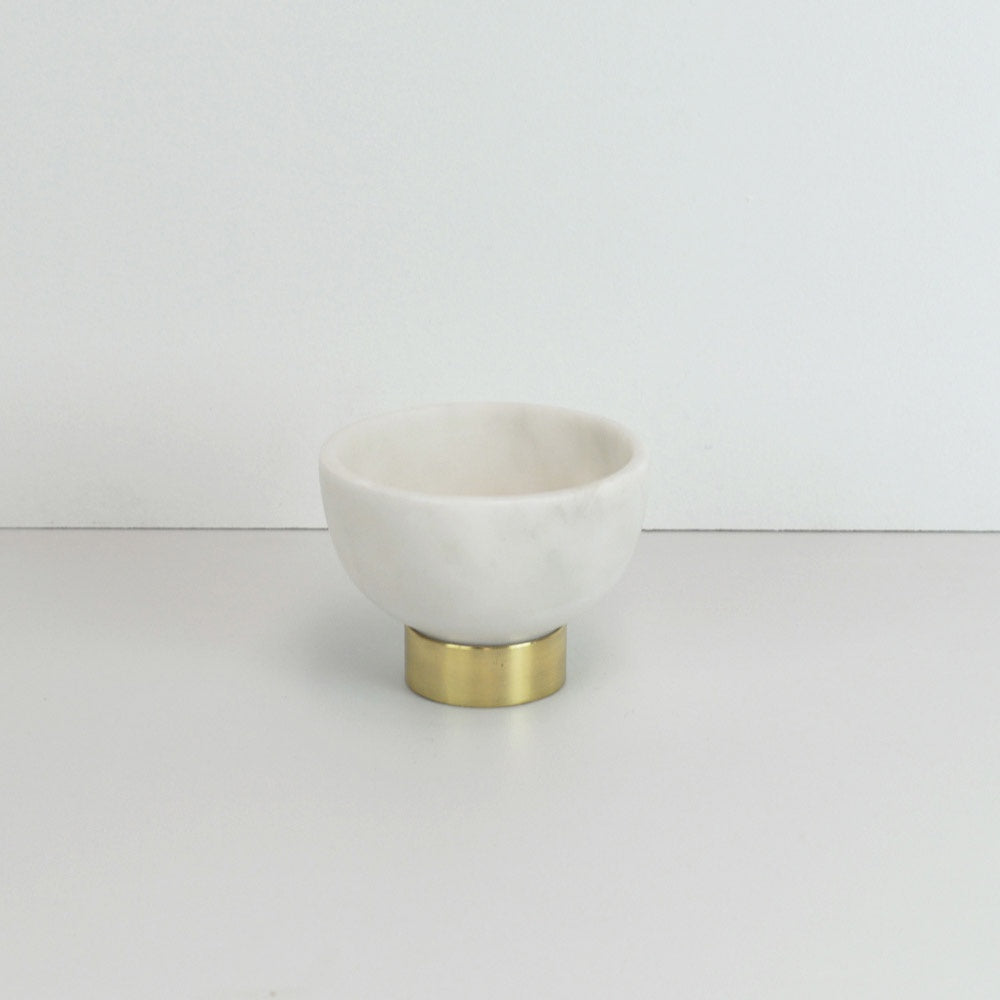 123home | Gold Brass Footed Medium White Marble Bowl