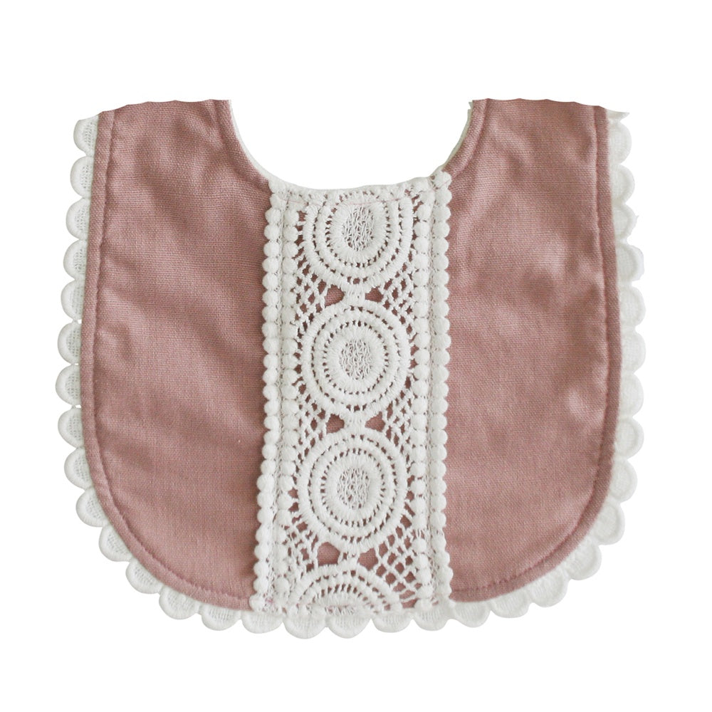 Alimrose Designs | Olivia Linen Bib in Pink Rose with Lace