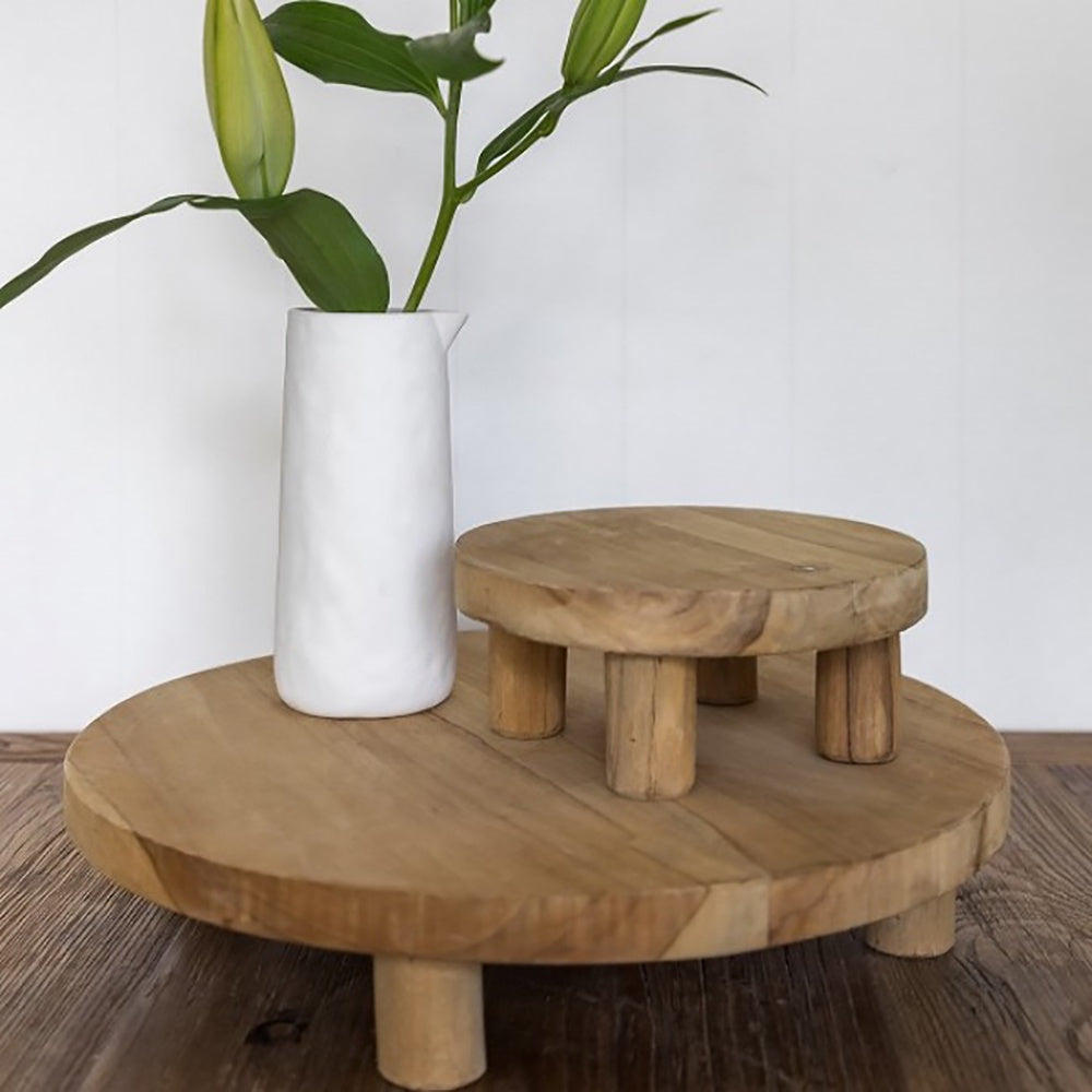 Ivory House | Large Wooden Teak Attic Dispay Serving Stand with Feet