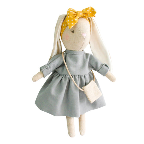 Alimrose Designs | Mini Sofia Bunny Doll in Grey Linen with Cute Bow & Bag