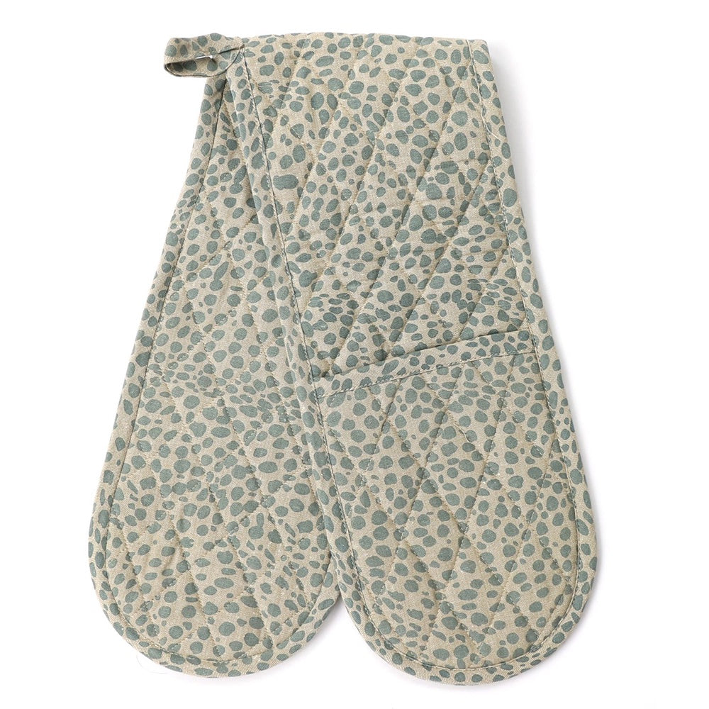 Raine & Humble | Animal Print Double Oven Glove Mitt in Powder Blue