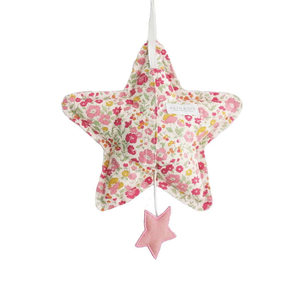 Alimrose Designs | Star Musical 'Let It Be' Hanging Mobile Decor in Blush Pink Linen & Rose Garden