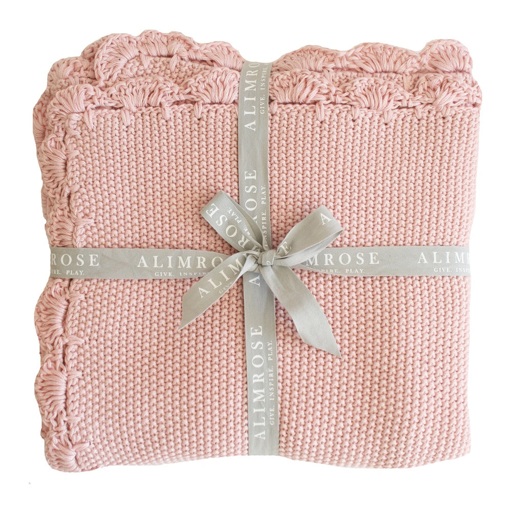 Alimrose Designs | Knit Mini Moss Stitch 100% Cotton Blanket in Pink