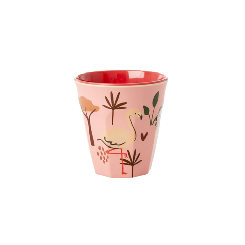 RICE | Small Kids Melamine Cup in Coral Pink Jungle Animal Print