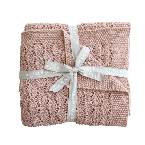 Alimrose Designs | Organic Heritage Knit Baby Blanket in Blossom Pink