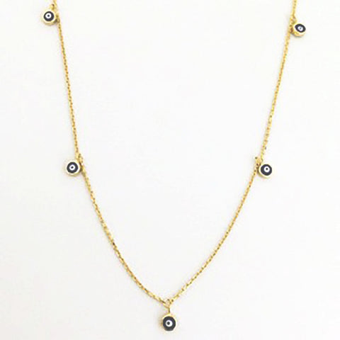 123home | Sterling Silver Gold Plated Mini Evil Eye Choker Necklace