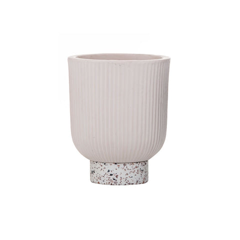 Amalfi | Ari Planter Pot Small in Blush Pink Ceramic with Terrazzo Base