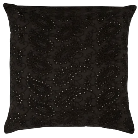 Raine & Humble | Embroidered Lace Velvet Cushion with Feather Insert in Charcoal Grey