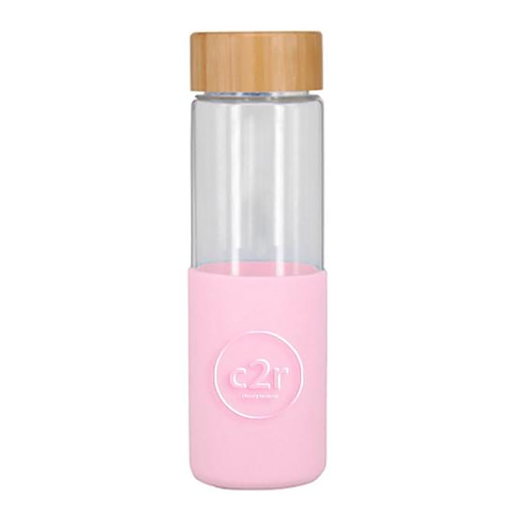 choose2reuse | Glass Eco Bottle with Silicone & Bamboo in Soft Pink