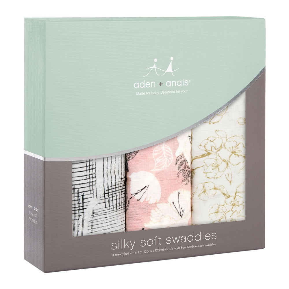 aden + anais | Silky Soft Swaddles 3pk in Pretty Petals