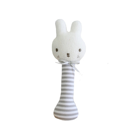 Alimrose Designs | Baby Bunny Stick Rattle in Grey & White Stripe