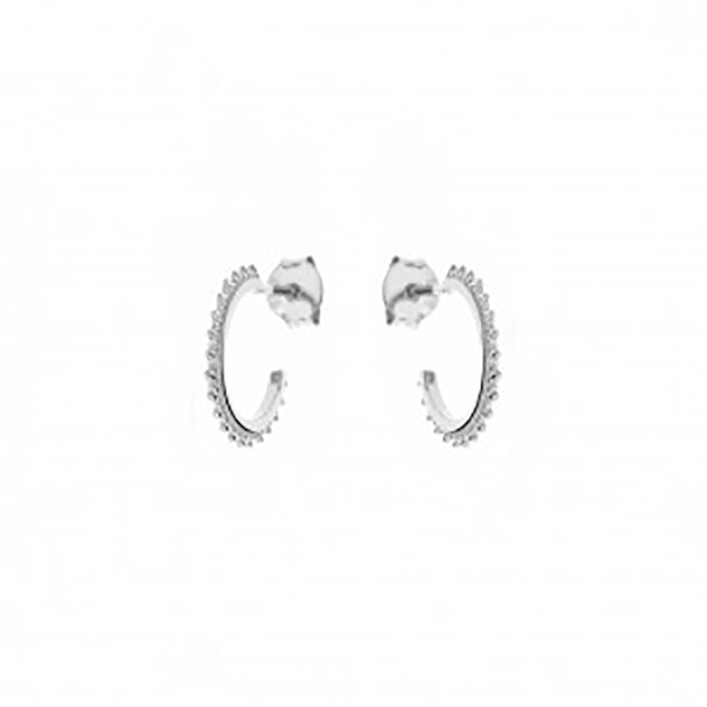 123home | Sterling Silver (925) Studded Mini Hoop Earrings