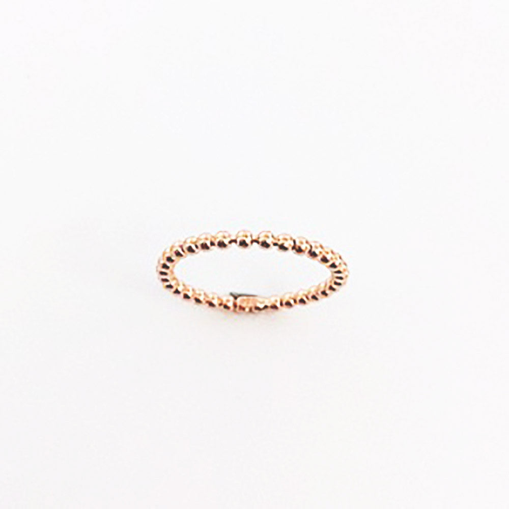 123home | Sterling Silver Rose Gold Plated Beaded Thin Ring