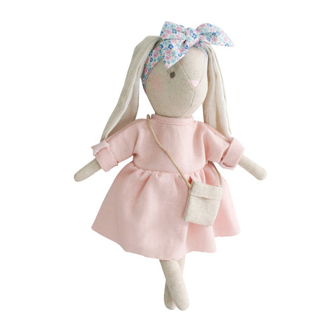 Alimrose Designs | Mini Sofia Bunny Doll in Pink Linen with Cute Bow & Bag