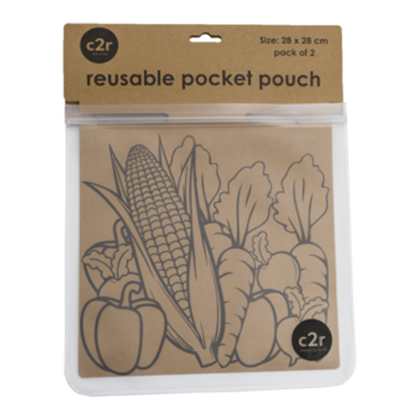 choose2reuse | Large Flat Food Ziplock Pocket Pouch Set/2 in Clear