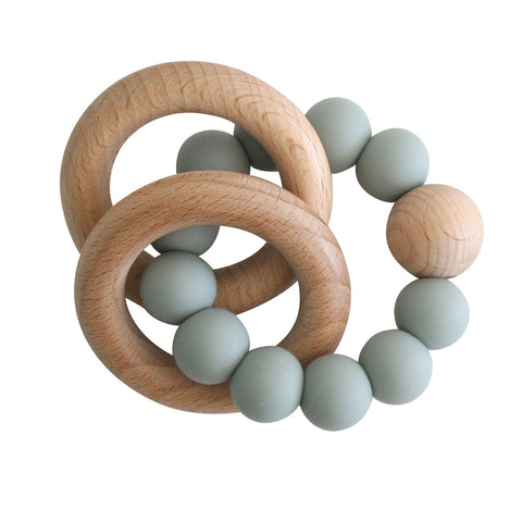 Alimrose Designs | Beechwood Silicone Teether Soother Rings Set in Sage Green