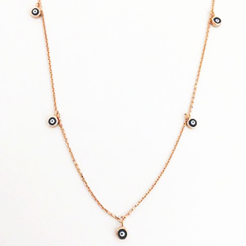 123home | Sterling Silver Rose Gold Plated Mini Evil Eye Choker Necklace