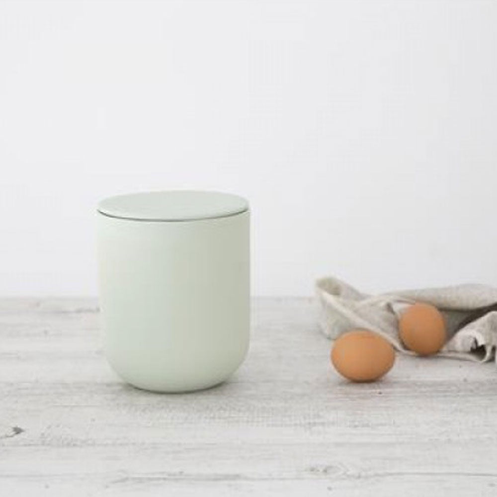 Ivory House | Large Matte Flax Jar with Lid in Mint Green