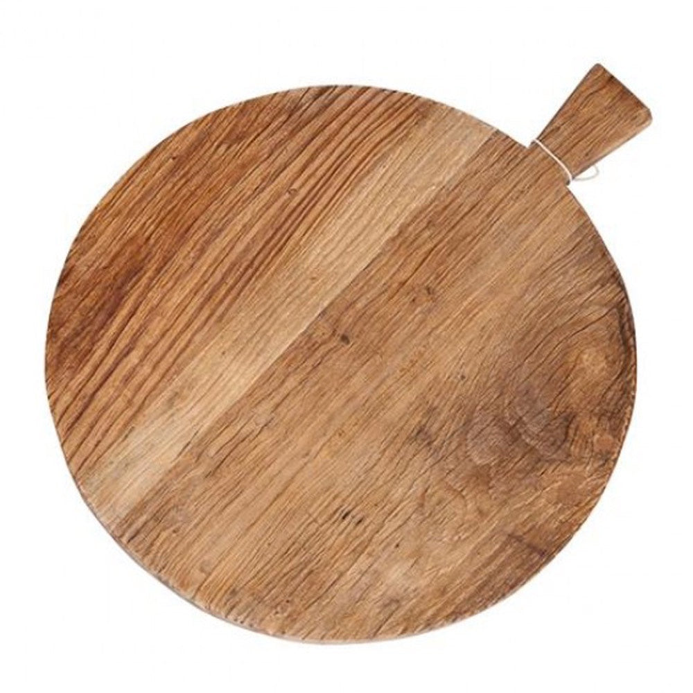 Ivory House | Elm Wooden Round Serving Board with Handles
