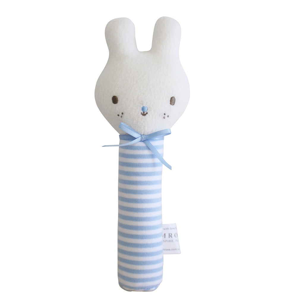 Alimrose Designs | Baby Bunny Squeaker Toy in Pale Blue Stripe