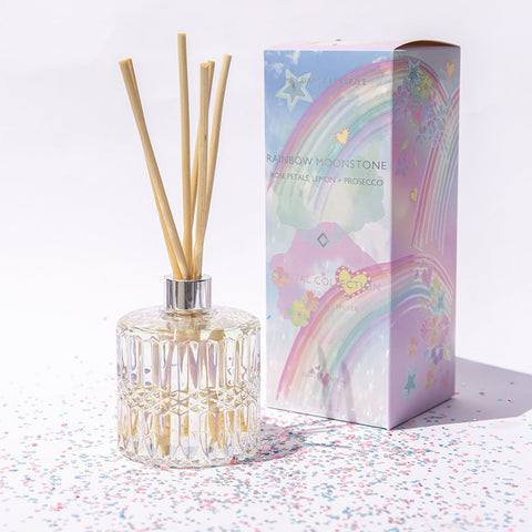 Mrs. Darcy | Crystal Reed Scented Diffuser in Rainbow Moonstone: Rose Petals, Lemon + Prosecco