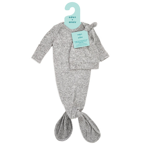 aden + anais | Snuggle Knit Knotted Gown & Hat Set in Heather Grey