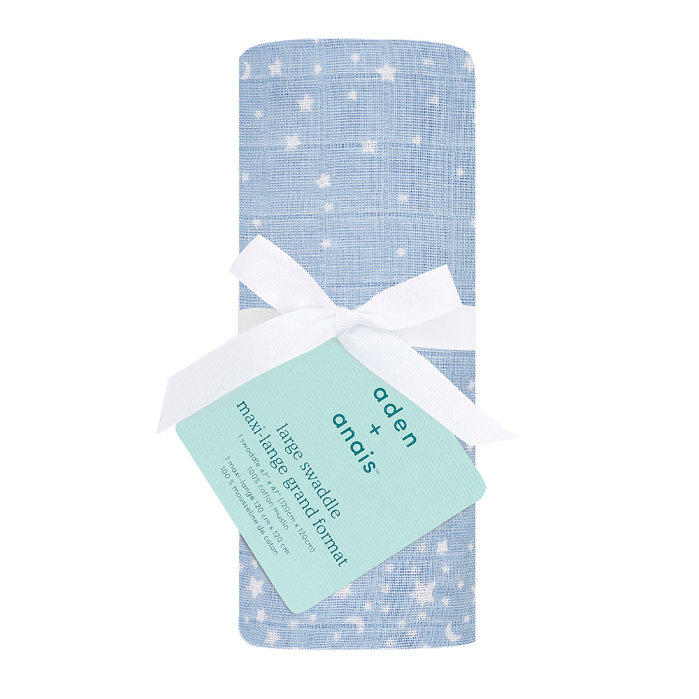 aden + anais | Classic Cotton Baby Swaddle Single in Blue Rising Star