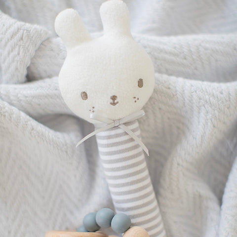 Alimrose Designs | Baby Bunny Squeaker Toy in Grey Stripe