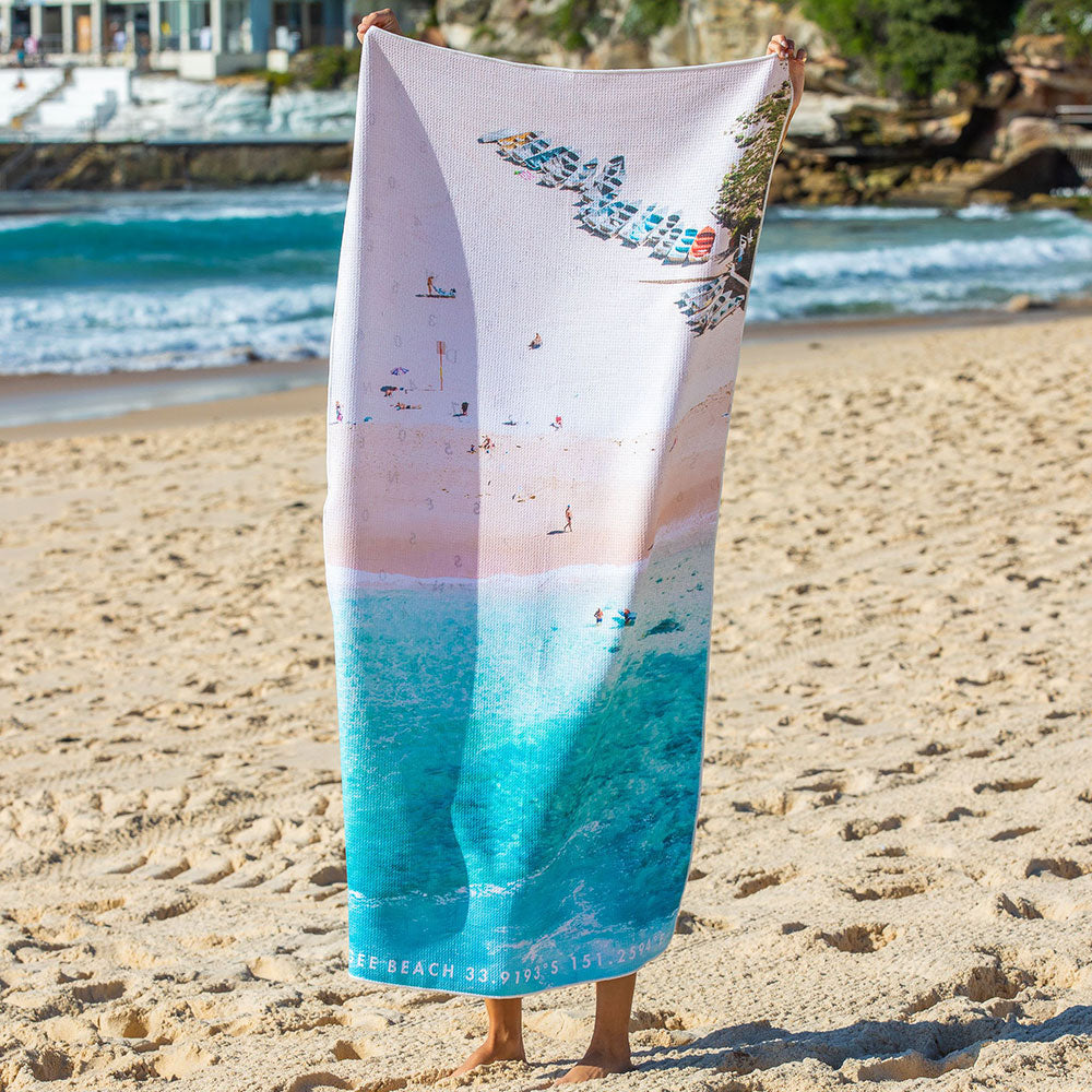 Destination Towels | Sand Free Lightweight Beach Yoga Towel - Coogee Boats, Coogee Beach, Sydney, Australia