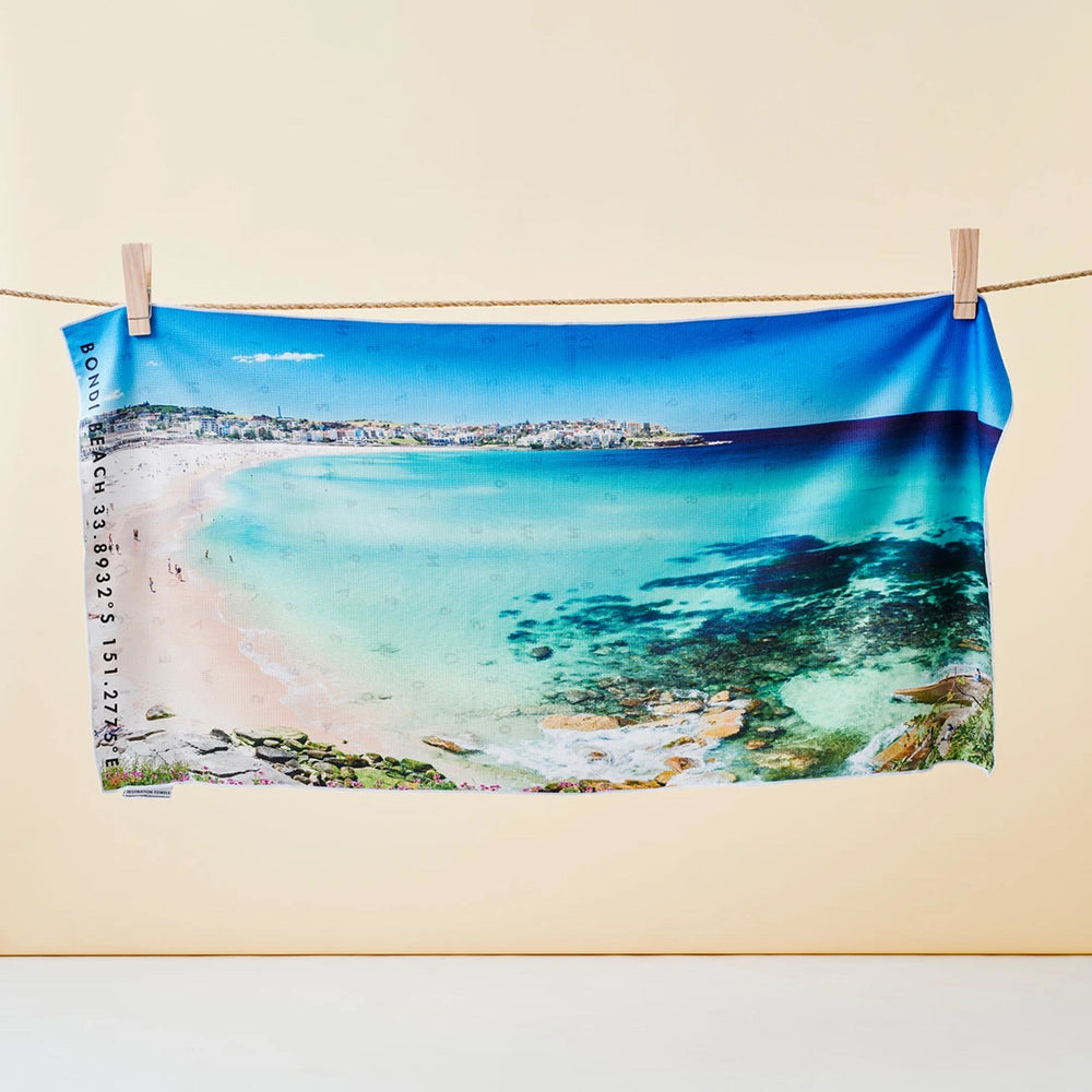 Destination Towels | Sand Free Lightweight Beach Yoga Towel - Bondi Blues, Bondi Beach, Sydney, Australia