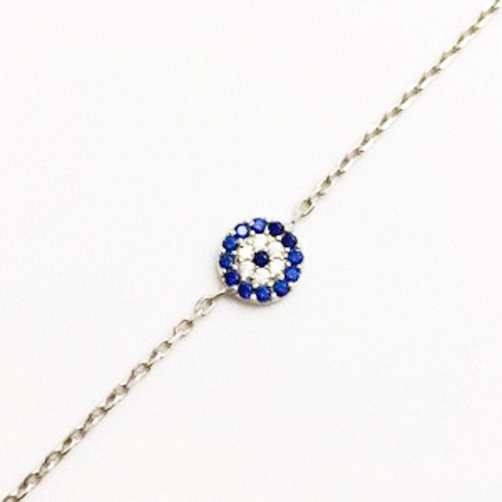 123home | Evil Eye Bracelet Round in Sterling Silver