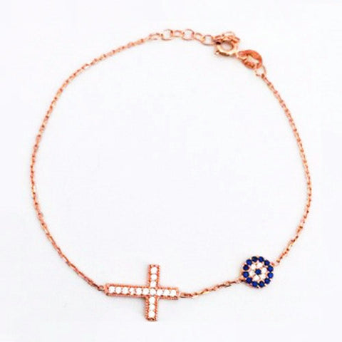 123home | Evil Eye & Cross Bracelet in Rose Gold Sterling Silver