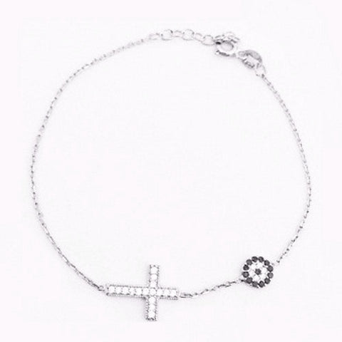 123home | Evil Eye & Cross Bracelet Sterling Silver