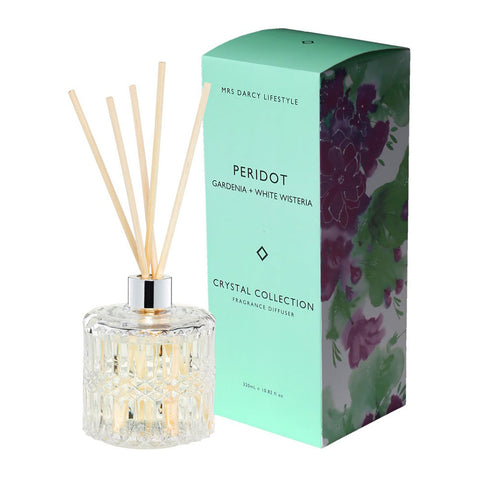 Mrs. Darcy | Crystal Collection Diffuser Peridot: Gardenia + White Wisteria