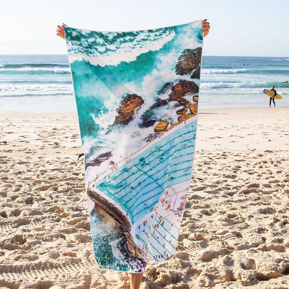Destination Towels | Sand Free Lightweight Beach Yoga Towel - Icebergs Summer, Bondi Beach, Sydney, Australia