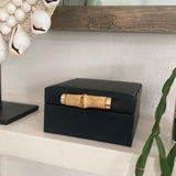 Ivory House | Grace Small Jewellery Box with Bamboo Handle in Black