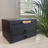 Ivory House | Grace Large Jewellery Box with Drawers & Bamboo Handle in Black