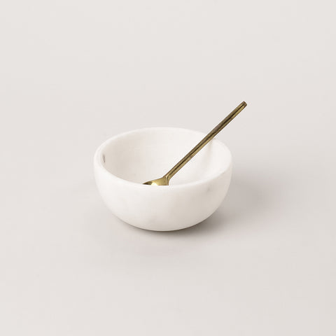 123home | White Marble Small Salt Pinch Serving Bowl