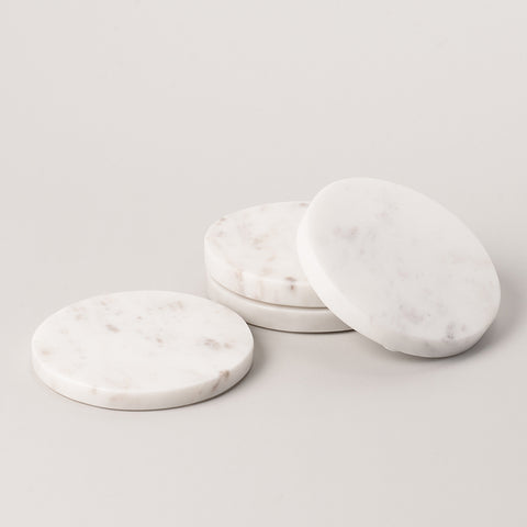 123home | Round White Marble Coaster