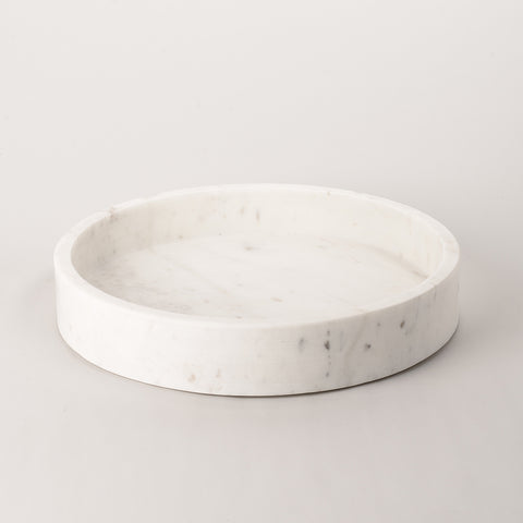 123home | White Marble Bathroom Serving Platter Tray Round