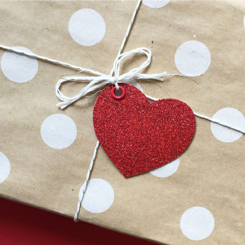 Candle Bark Creations | Red Heart Glitter Gift Tag