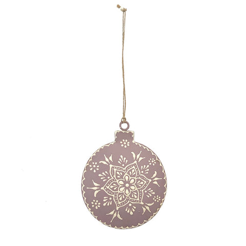 123home Henna Bauble Christmas Decoration Ornament in Mauve Purple