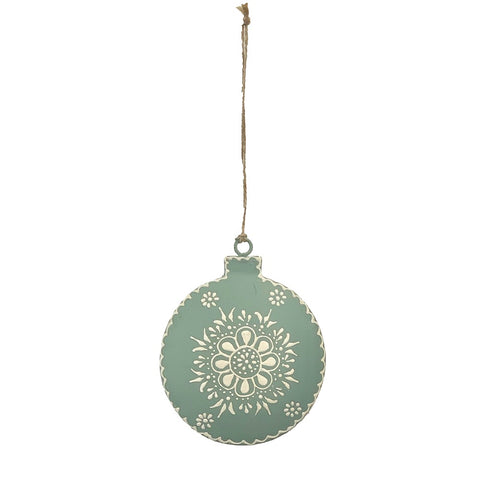 123home Henna Bauble Christmas Decoration Ornament in Sage Green