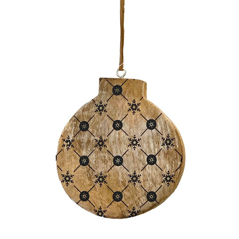 123home | Wooden Bauble Christmas Decoration Ornament in Black Geo