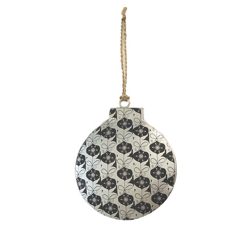 123home | Iron Bauble Christmas Decoration Ornament in Black Bow