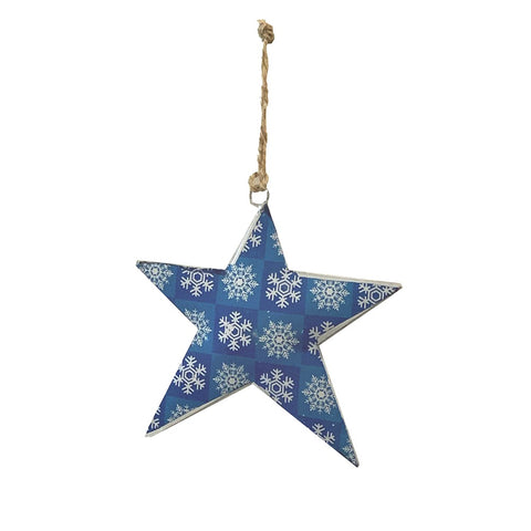 123home | Iron Star Christmas Decoration Ornament in Blue Snowflake